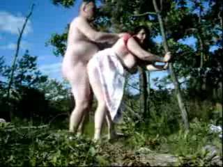 I love how your tits jiggle all over as he fucks your sweet pussy.  Fucking outdoors is so erotic.  Were you in a place where someone could have seen you?  Doesn't that make it all the more exciting?  Does he like to eat your pussy too?  I'd be glad to clean your delicious pussy after he cums inside you.  And, yes, I'll lick and suck his lovely cock for him too. Love, Art