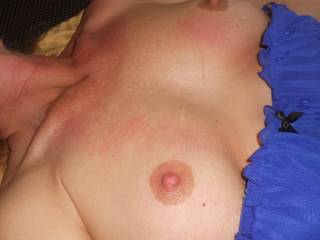 Look at his cum dripping down her tits.  She is soooooo sexy with cum dripping on her.