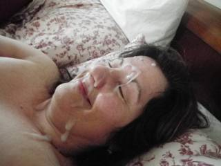 what a wonderful woman, smiling with a facial