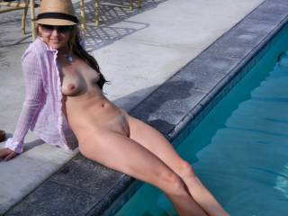 "Your slit, crotch and mound are looking perfect, and your tits very delish. Beautiful ""camel toe"" to flaunt around the pool every time you go naked for a nice tan, babe."