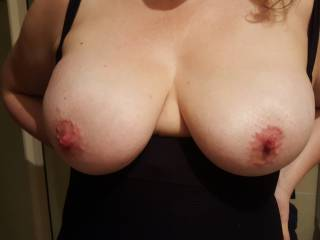 just love her big tits....check out my wifes big tits..imagine them both laying next 2 each other on the bed showing off & flashing there huge tities for us 2 compare between & have a play with