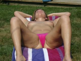 You don\'t mind if she has the bottom half of her bikini on. Do you?