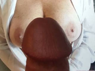 Dick on beautiful breasts tribute