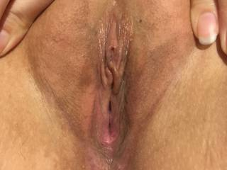 My girlfriend spreading her pussy