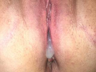Cum oozing out of subs pussy
