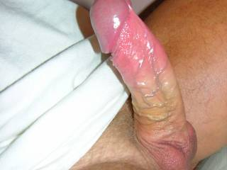 Talk about eye candy....that cock I'd want to suck all day long.  Yeah that would be my all day sucker.  Such a shinny pretty thing....how can I let it go.   If I wasn't sucking it, I'd be holding it, or fucking it.   K