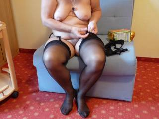 old woman my ass you look great in those exy black stockings my cock is so hard for you right now