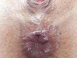 Close up of her beautiful young holes after they\'ve been well pounded!