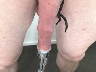 Using some tools to stretch my foreskin.