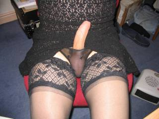 i like it very much--especially that stiff cock sticking out of your pretty panties... and those balls squeezed into tight panties--i'd love to rub and squeeze them and stiffen that cock even more!