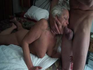 Oh honey, you know how to treat a cock right!  And from the sound of his horny moans, he really enjoyed it and was likely near a climax.  Did you get a delicious mouthful of his hot cum?  Would he like another mouth licking his balls and sharing the sweet load when he explodes?  If so, I'm ready to join in.  Of course I'll give you and your beautiful tits and hot pussy a lot of pleasure too, honey. Love and sucks, Bob