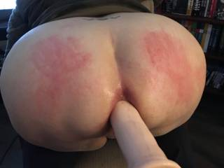 Was very horny that day. Just pulled down her pants and she got spanked hard and took a big toy in her ass