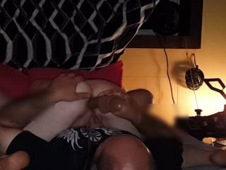Getting my ass fucked with a dildo while i play with my pussy