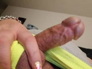 Hanging out the other day freeballing in my neon yellow basketball shorts... Must have been a busy of wind because I got a woody!  Ended up edging myself for an hour, but didn\'t cum...  Want to help me finish it off?