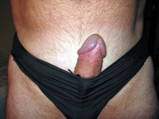 JUST LOVE SEEING A BIG HARD DICK STICKING OUT OF A PAIR OF SILKY PANTIES.  SOOO YUMMY!