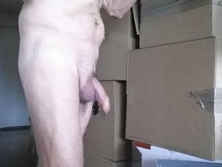 Working naked gets me horny. Going to have to stop soon and maybe stroke my cock for a bit.