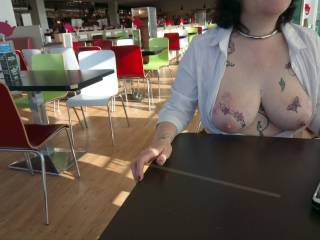 The wide expanse of Morrisons café and Sally sitting with her tits out!
