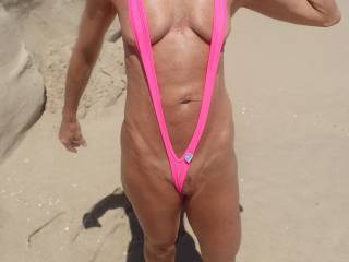 I think my tan lines are showing. Do you like my pink?