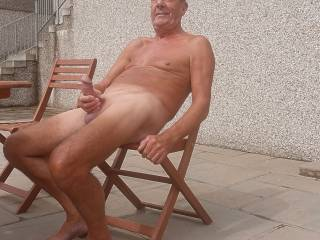 My cock always feels so good in the sunshine