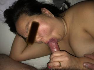 She sucks hard on his cockhead making him hard for her