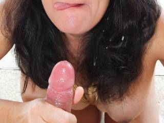 Post backyard blowjob with a mouthful of cum...licking the cum off my lips.