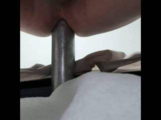 Wife is away and got so horny on Zoig, I had to take the morning to give my ass a good fucking. This is the first time in a few years that I\'ve had the opportunity to put my aluminum baseball bat. Warm it with hot water, little oil and slides right in.