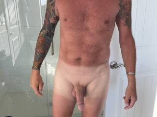 Great tan lines on my man!!