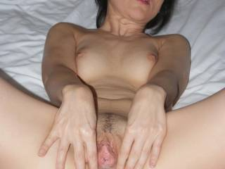 absoulutely cock blowing georgeous, wide open and ready to receive... Love to see your innermost crinkles inside your open lips. You would be so tight around my cock... Would so luv to make you cum by stroking your beautiful  pussy and hard clit...