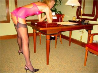 gorgeous!!!...love to pound my cock into you like that!!!....then sweep everything off the desk and throw you up there for more!!