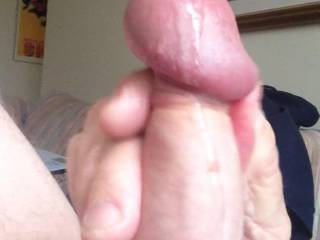 After a morning edge session today, felt great.   I hope you enjoyed that. Love being watched.  Wish there\'d been something I could have cum on,  like a pair of big tits or another mushroom head