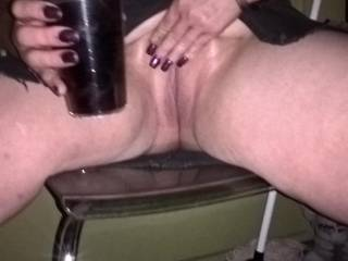 Husband licks her clit while another man fucks her