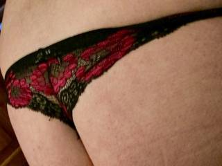 My butt in a pair of sexy satiny thong girlie panties;)