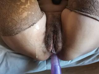 Hairy pussy close up after orgasm
