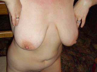 Just amazing tits, areolas and nipples. Now just lean forward and let them hang.