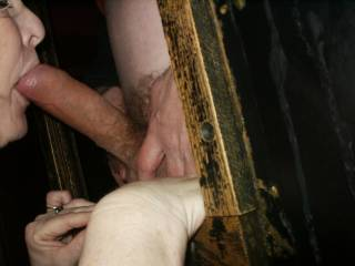 More of my wife enjoying strange cock at the gloryholes.  She loved this big uncut cock.