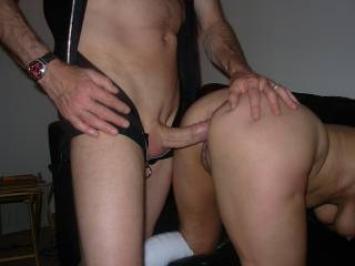 She leaned over so Terry could stick his big cock in her xxx