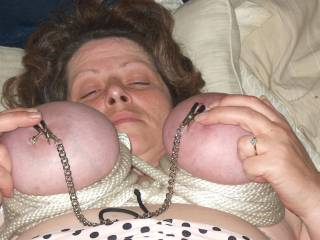 I like my tits tied-up and with my nipple clips on them.. Want to pull my chain? also are you a good boyscout?