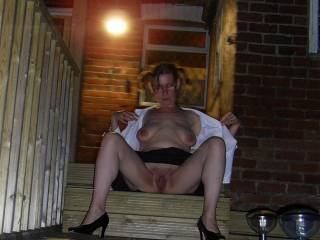 dressed as a naughty little schoolgirl - pigtails n all..lol. What would teacher do if you found me sat outside like this?