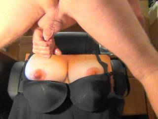 Jacking my hard cock and about to give Sweet T her tit and bra bukkake tribute!