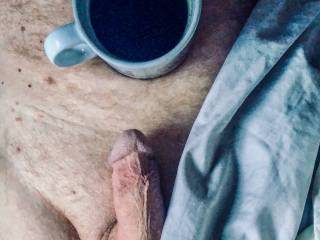 Morning coffee, then cock stroking.