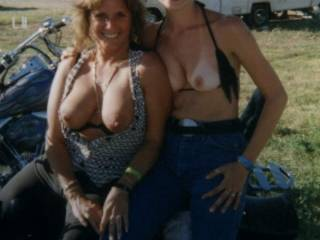 me and a friend showing our tits