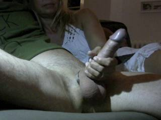 How amazing is that pic!   What a HOT girl and a cute cock!  Can you please wank me like that...and I would also love to suck on his cock