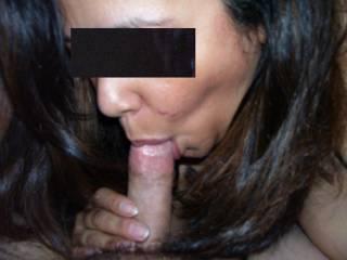 Latina friend sucking the head of my cock hard!