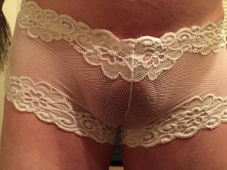 very sexy panties.   love to give your balls a little lick