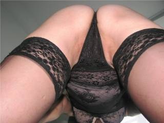 Mmmmm nice shot, don't take those panties off though...pull them tightly up the slit of your pussy so your lips hang over them please ;-)