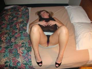 I want to pull those panties aside and bury my face in that lovely sooth pussy of hers while she digs her heels into my  back trying to make my tongue go deeper into her warm wet pussy.