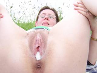 One well fucked pussy - who wants a lick at the cream filling?
