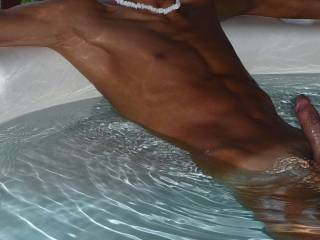 It\'s a great feeling being naked in an outdoor hot tub.   Anyone want to join me?