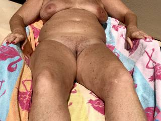 Tanning my titties and pussy for you! Am I still sexy and hot for my age? Please give me your honest opinion?