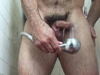 Using the showerhead to make the tip of my dick feel real good!